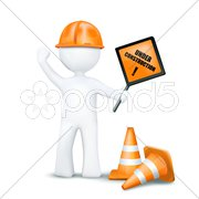 3d character with underconstruction elements Stock Illustration