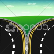 Unzipped natural view Stock Illustration