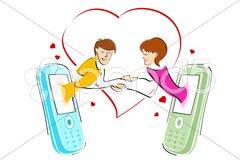 Chatting on mobile Stock Illustration