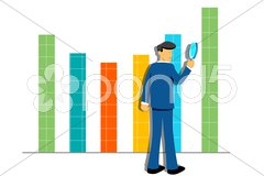 Growth graph with businessman Stock Illustration