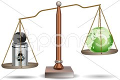 Beam balance with globe and recycle bin Stock Illustration