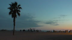 Sunset beach of Olympic port in Barcelona Stock Footage