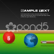 Snooker game with ball globe Stock Illustration