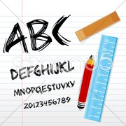 Alphabetical texts with pencil, ruler and book Stock Illustration