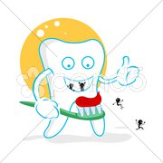 Happy dent with germs Stock Illustration