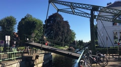 Opening the bridge from the lock in Blokzijl Stock Footage
