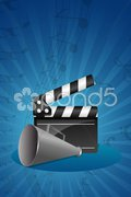 Abstract clap board with loudspeaker Stock Illustration