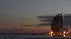 Dusk at the Olympic Port of Barcelona Stock Footage