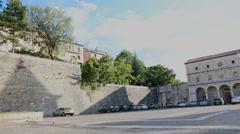Plaza and fountain in pescina aquila abruzzo Stock Footage