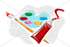 Art plate with colors Stock Illustration