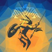 Native American War Dance Stock Illustration