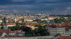 Panorama of Prague Old Town with red roofs timelapse, famous Charles bridge and Stock Footage