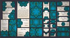 Business and invitation template Cards set with mandala ornament. Vintage dec Stock Illustration