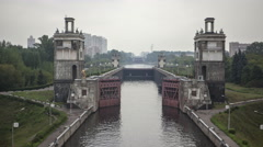 The Sluices of the Moscow River and the Moscow Canal. Stock Footage