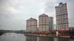 Housing Complex Alye Parusa on the Moscow River. Stock Footage