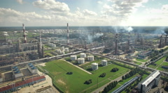 Aerial view of oil refinery plant Stock Footage