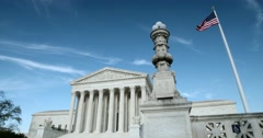 The US Supreme Court medium wide with flag and light pole Stock Footage