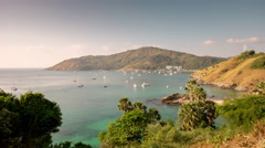 Summer day phuket island famous view point bay panorama 4k time lapse thailand Stock Footage