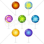 Different decorated lollypops Stock Illustration