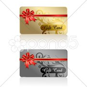 Gift card with ribbon Stock Illustration