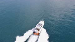 Aerial view Luxury motor boat in navigation, motoryacht, Stock Footage