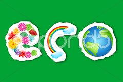 Eco text in flower, rainbow and globe Stock Illustration