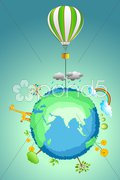 Earth with parachute Stock Illustration