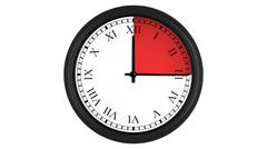 Roman wall clock with red 15 minutes time interval Stock Illustration