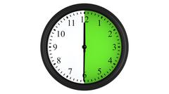 Wall clock with a green 30 minutes time interval Stock Illustration