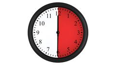 Wall clock with a red 30 minutes time interval Stock Illustration