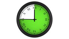 Roman wall clock with green 45 minutes time interval Stock Illustration