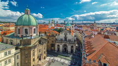 Church of St. Francis of Assisi and St. Salvator Church in Prague timelapse Stock Footage