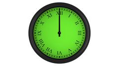 Roman wall clock with green 60 minutes time interval Stock Illustration