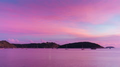 Phuket island sunset nai harn beach pink glow panorama 4k time lapse thailand Stock Footage