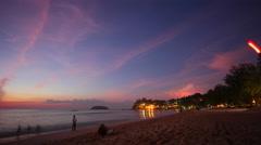 Sunset pink glow phuket island kata noi beach 4k time lapse thailand Stock Footage