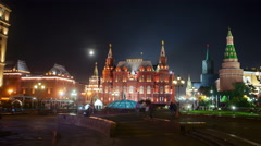 Moon over Moscow Kremlin. Stock Footage