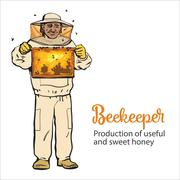 Beekeeper in protective gear holding honeycomb grid Stock Illustration