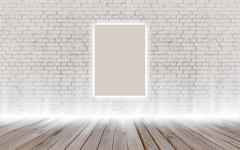 Mock up poster in vintage glowing loft interior, background, template design Stock Illustration