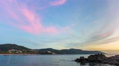 Phuket kata noi beach sunset bay panorama 4k time lapse thailand Stock Footage