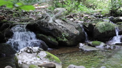Pan Shot of Waterfalls on the Haizel River - Shenandoah National Park Stock Footage