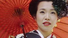 Japanese Women wearing a Ceremonial Kimono Stock Footage
