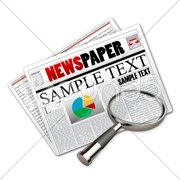 news paper with lens - stock photo