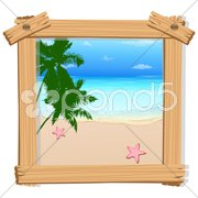 Beach view in photo frame Stock Illustration