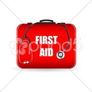 First aid box with stethoscope Stock Illustration