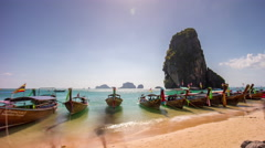 Summer day krabi beach crowded tourist boat panorama 4k time lapse thailand Stock Footage