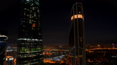 Modern glass building, sunrise in Moscow City. Lights and timelapse. Stock Footage