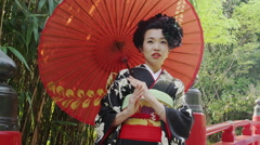 Japanese Women wearing a Ceremonial Kimono Stock Footage