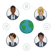 Team of remote workers on a business project Stock Illustration