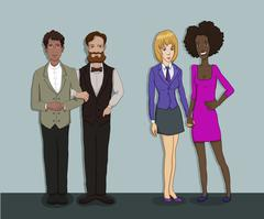 Vector flat illustration of society members with  men and -social network Stock Illustration
