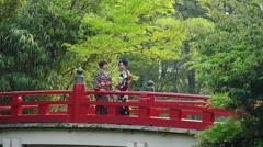 2 Japanese Women on a traditional Japanese Bridge Stock Footage